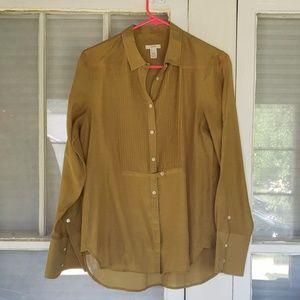 J Crew Silk Cotton Blend Button up